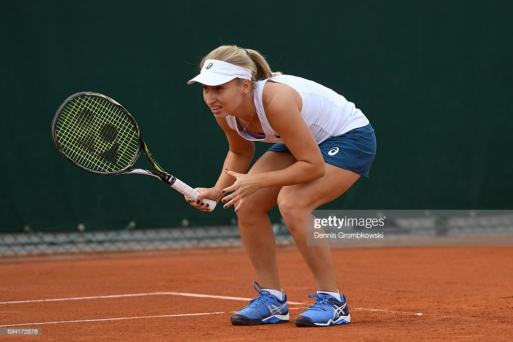 Daria Gavrilova of Australia ducks during the Women's Double first round match against Gabriela Dabrowski of Canada and Maria Jose Martinez Sanchez of Spain on day four of the 2016 French Open at Roland Garros on May 25, 2016 in Paris, France.