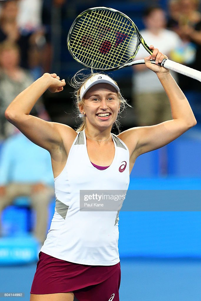 <a gi-track='captionPersonalityLinkClicked' href=/galleries/search?phrase=Daria+Gavrilova&family=editorial&specificpeople=5906023 ng-click='$event.stopPropagation()'>Daria Gavrilova</a> of Australia Green celebrates defeating Elina Svitolina of the Ukraine in the women's singles finals match during day seven of the 2016 Hopman Cup at Perth Arena on January 9, 2016 in Perth, Australia.