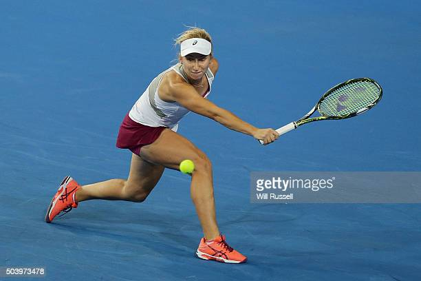 Daria Gavrilova of Australia Green plays a backhand in the women's single match against Carline Garcia of France during day six of the 2016 Hopman...