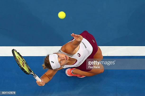 Daria Gavrilova of Australia Green serves to Elina Svitolina of the Ukraine in the women's singles finals match during day seven of the 2016 Hopman...