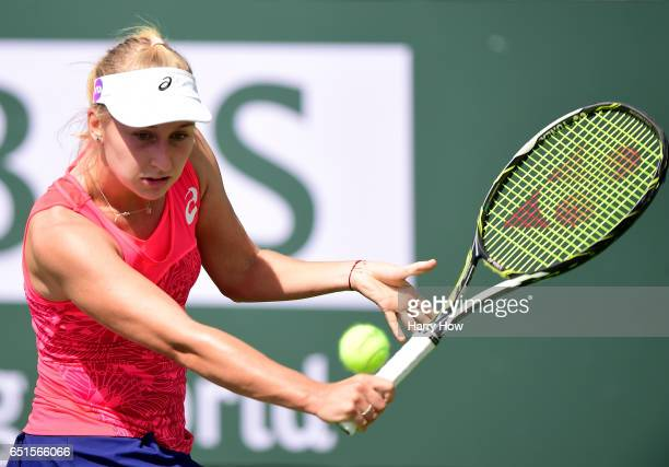 Daria Gavrilova of Australia hits a backhand in her straight set win over Yanina Wickmeyer of Belgium at Indian Wells Tennis Garden on March 10 2017...