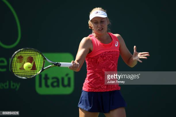 Daria Gavrilova of Australia in action against Lucie Safarova of Czech Republic at Crandon Park Tennis Center on March 23 2017 in Key Biscayne Florida