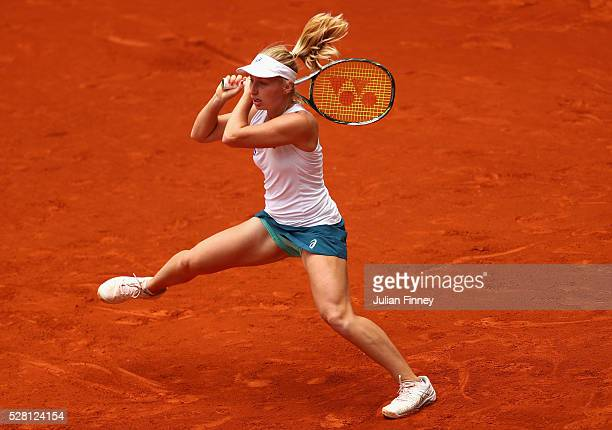 Daria Gavrilova of Australia in action against Petra Kvitova of Czech Republic during day five of the Mutua Madrid Open tennis tournament at the Caja...
