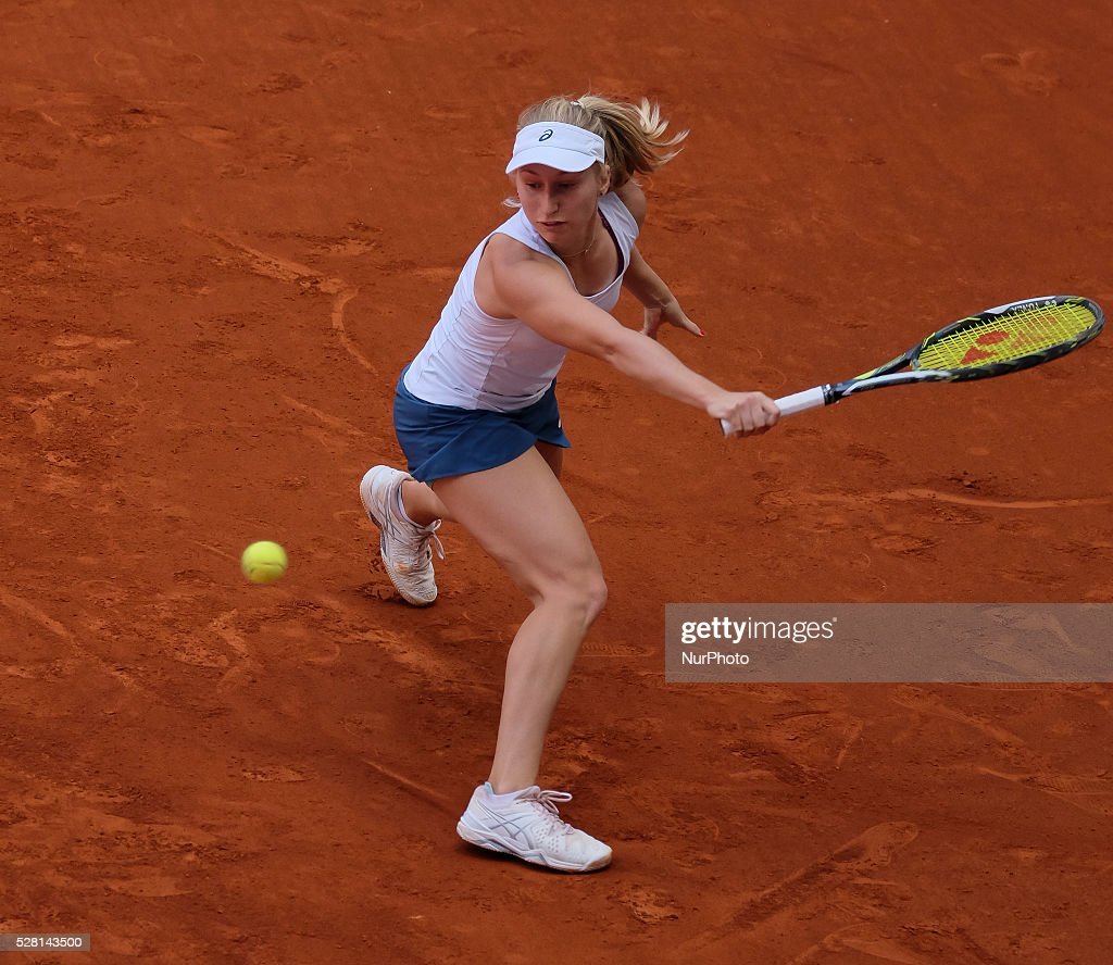 <a gi-track='captionPersonalityLinkClicked' href=/galleries/search?phrase=Daria+Gavrilova&family=editorial&specificpeople=5906023 ng-click='$event.stopPropagation()'>Daria Gavrilova</a> of Australia in action against Petra Kvitova of Czech Republic during day five of the Mutua Madrid Open tennis tournament at the Caja Magica on May 04, 2016 in Madrid, Spain.