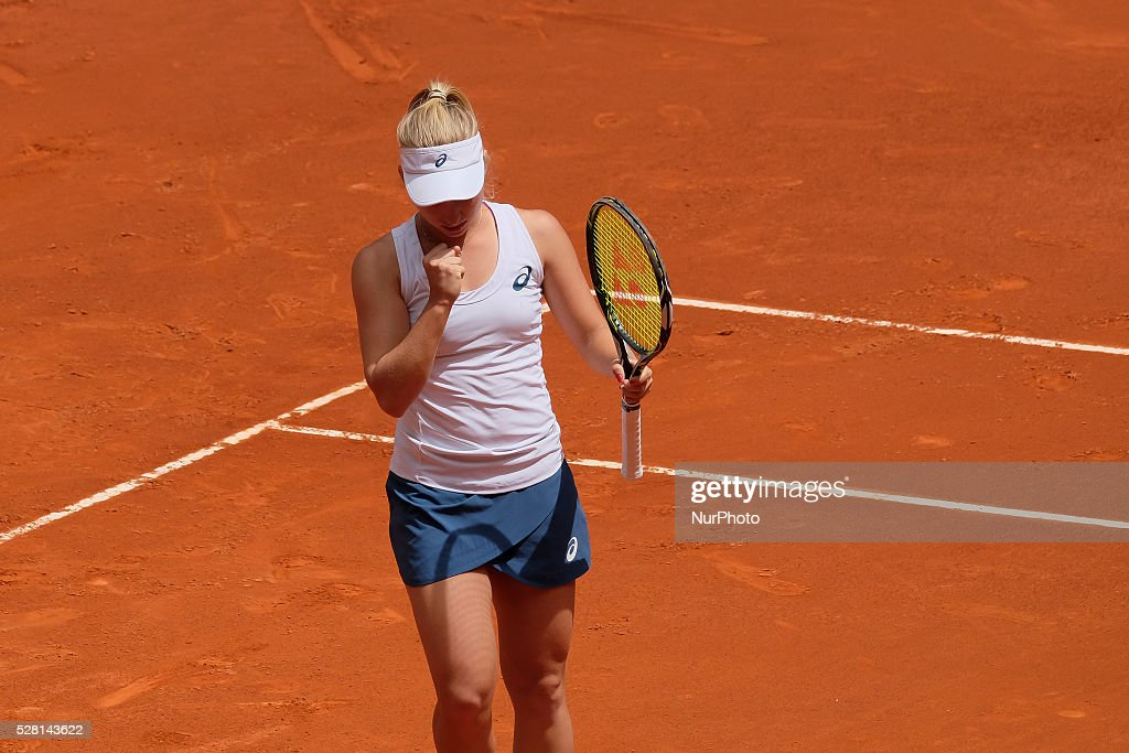 Daria Gavrilova of Australia in action against Petra Kvitova of Czech Republic during day five of the Mutua Madrid Open tennis tournament at the Caja Magica on May 04, 2016 in Madrid, Spain.