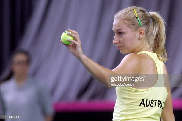 Daria Gavrilova of Australia is in action against Ivana Jorovic of Serbia during their Fed Cup World Group II PlayOff match at Kristalna Dvorana...
