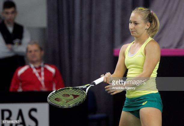 Daria Gavrilova of Australia is in action against Nina Stojanovic of Serbia during their Fed Cup EuropeAfrica Zone Group B match at Kristalna Dvorana...