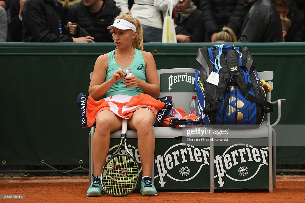 <a gi-track='captionPersonalityLinkClicked' href=/galleries/search?phrase=Daria+Gavrilova&family=editorial&specificpeople=5906023 ng-click='$event.stopPropagation()'>Daria Gavrilova</a> of Australia looks on during the Ladies Singles first round match against Mariana Duque-Marino of Colombia on day three of the 2016 French Open at Roland Garros on May 24, 2016 in Paris, France.