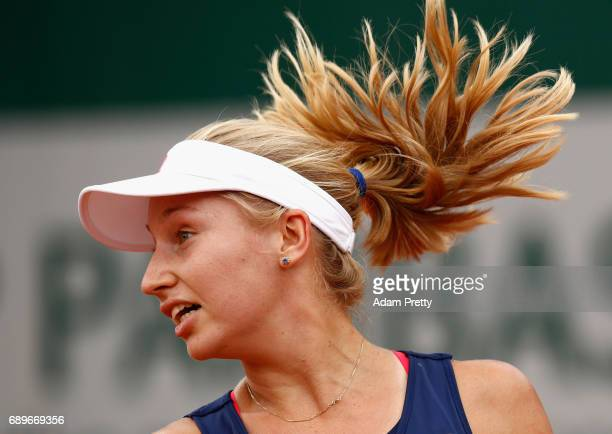 Daria Gavrilova of Australia looks on during the ladies singles first round match against Elise Mertens of Belgium on day two of the 2017 French Open...