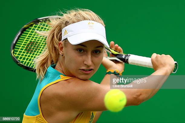 Daria Gavrilova of Australia plays a backhand against Serena Williams of the United States in their first round match on Day 2 of the Rio 2016...