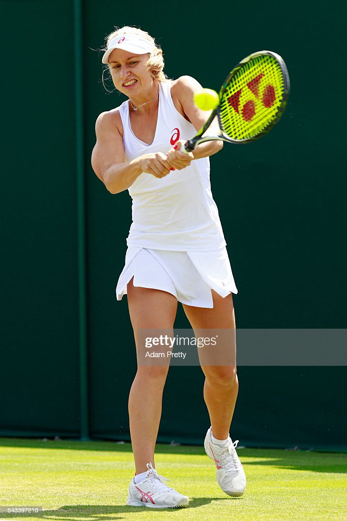 <a gi-track='captionPersonalityLinkClicked' href=/galleries/search?phrase=Daria+Gavrilova&family=editorial&specificpeople=5906023 ng-click='$event.stopPropagation()'>Daria Gavrilova</a> of Australia plays a backhand during the Ladies Singles first round match against Qiang Wang of China on day two of the Wimbledon Lawn Tennis Championships at the All England Lawn Tennis and Croquet Club on June 28, 2016 in London, England.
