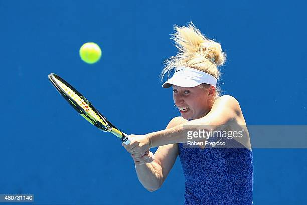 Daria Gavrilova of Australia plays a backhand in the final match against Arina Rodionova of Australia during the 2015 Australian Open play off at...