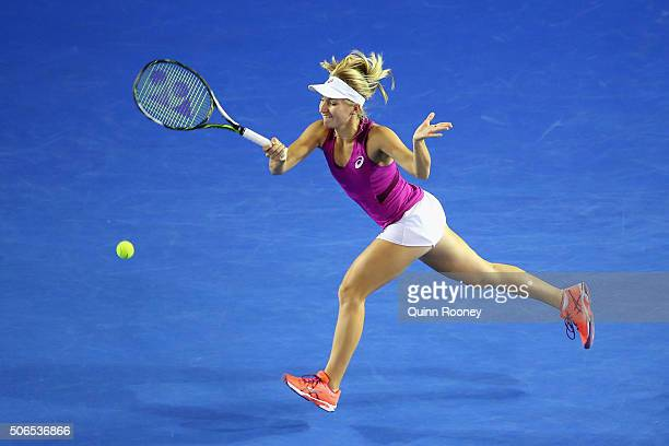 Daria Gavrilova of Australia plays a forehand in her fourth round match against Carla Suarez Navarro of Spain during day seven of the 2016 Australian...