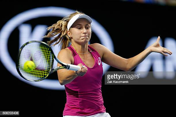 Daria Gavrilova of Australia plays a forehand in her third round match against Kristina Mladenovic of France during day five of the 2016 Australian...