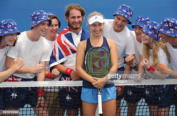 Daria Gavrilova of Australia poses with Australian Fans after her practice session during day four of the 2016 Australian Open at Melbourne Park on...