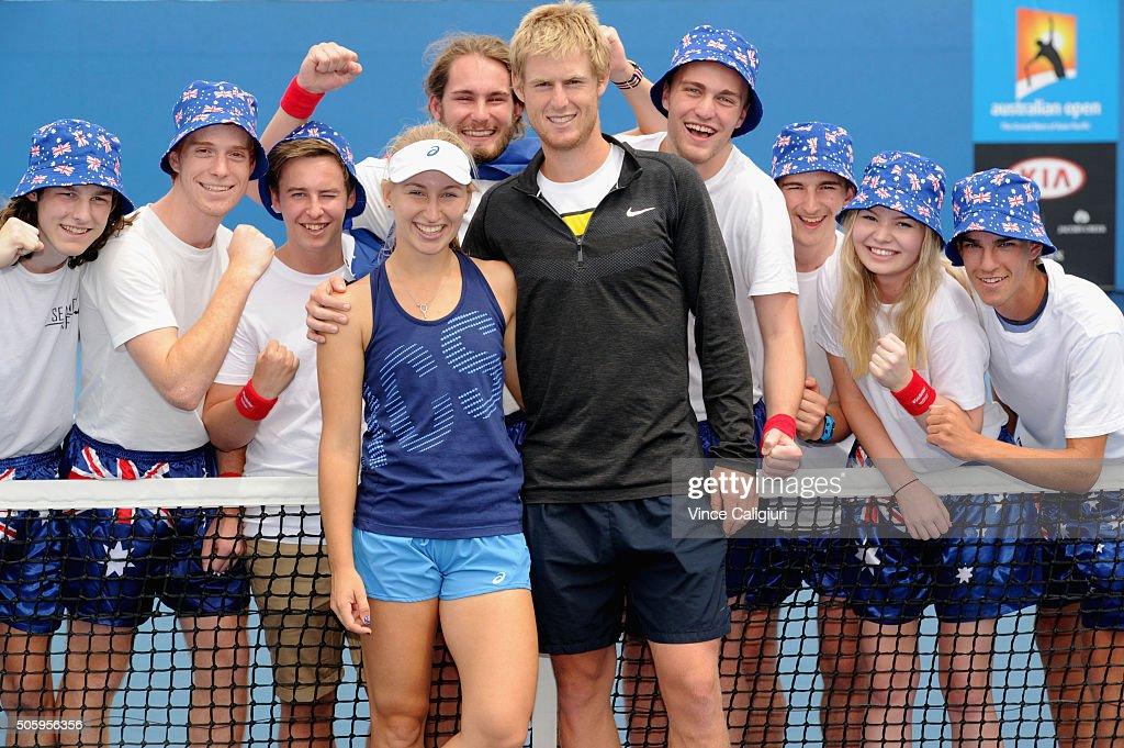 <a gi-track='captionPersonalityLinkClicked' href=/galleries/search?phrase=Daria+Gavrilova&family=editorial&specificpeople=5906023 ng-click='$event.stopPropagation()'>Daria Gavrilova</a> of Australia poses with her partner and mens player <a gi-track='captionPersonalityLinkClicked' href=/galleries/search?phrase=Luke+Saville&family=editorial&specificpeople=5678639 ng-click='$event.stopPropagation()'>Luke Saville</a> with Australian Fans after her practice session during day four of the 2016 Australian Open at Melbourne Park on January 21, 2016 in Melbourne, Australia.