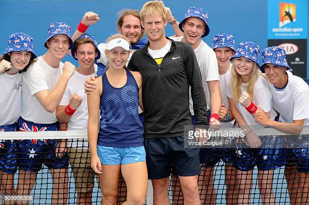 Daria Gavrilova of Australia poses with her partner and mens player Luke Saville with Australian Fans after her practice session during day four of...