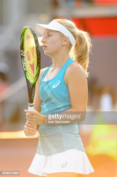 Daria Gavrilova of Australia reacts during her first round match of the 2017 Rogers Cup tennis tournament on August 8 at Aviva Centre in Toronto ON...
