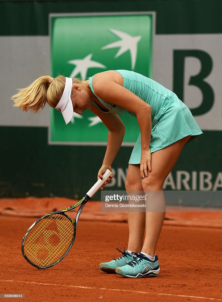 <a gi-track='captionPersonalityLinkClicked' href=/galleries/search?phrase=Daria+Gavrilova&family=editorial&specificpeople=5906023 ng-click='$event.stopPropagation()'>Daria Gavrilova</a> of Australia reacts during the Ladies Singles first round match against Mariana Duque-Marino of Colombia on day three of the 2016 French Open at Roland Garros on May 24, 2016 in Paris, France.