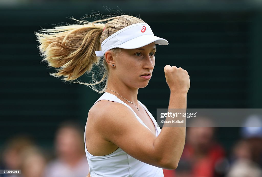 <a gi-track='captionPersonalityLinkClicked' href=/galleries/search?phrase=Daria+Gavrilova&family=editorial&specificpeople=5906023 ng-click='$event.stopPropagation()'>Daria Gavrilova</a> of Australia reacts during the Ladies Singles second round match against Dominika Cibulkova of Slovakia on day four of the Wimbledon Lawn Tennis Championships at the All England Lawn Tennis and Croquet Club on June 30, 2016 in London, England.