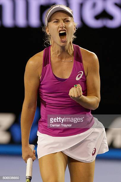 Daria Gavrilova of Australia reacts in her fourth round match against Carla Suarez Navarro of Spain during day seven of the 2016 Australian Open at...