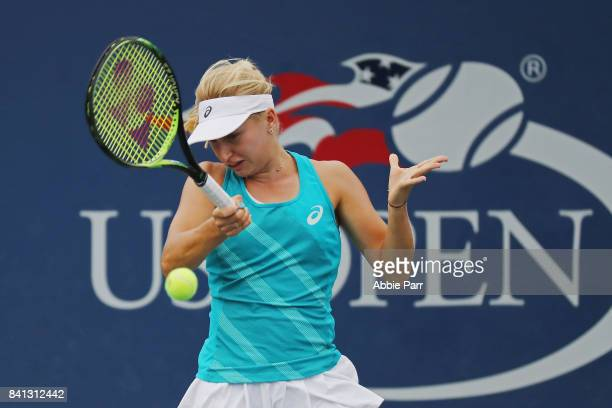 Daria Gavrilova of Australia returns a shot against Shelby Rogers of the United States during their second round Women's Singles match on Day Four of...