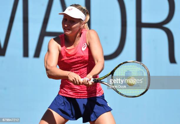 Daria Gavrilova of Australia returns serve to Catherine Bellis of USA during day two of the Mutua Madrid Open tennis at La Caja Magica on May 7 2017...