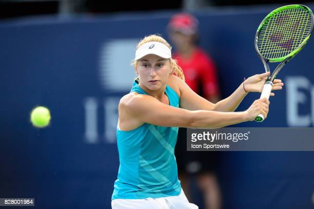 Daria Gavrilova of Australia returns the ball during her first round match of the 2017 Rogers Cup tennis tournament on August 8 at Aviva Centre in...