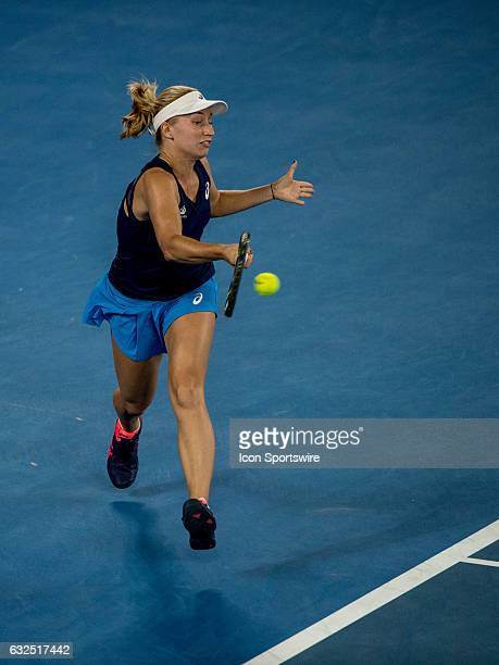 Daria Gavrilova of Australia returns the ball during the fourth round of the 2017 Australian Open on January 23 at Melbourne Park Tennis Centre in...