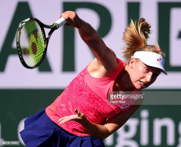 Daria Gavrilova of Australia serves to Elina Svitolina of the Ukraine during the BNP Paribas Open at Indian Wells Tennis Garden on March 12 2017 in...