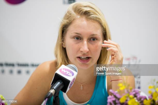 Daria Gavrilova of Australia talks during the post game press conference after winning her womenÕs singles semifinal match against Jennifer Brady of...
