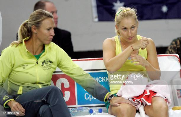 Daria Gavrilova of Australia waits as he gives a breaks on the match against Nina Stojanovic of Serbia during their Fed Cup EuropeAfrica Zone Group B...