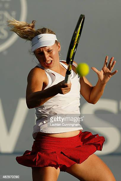 Daria Gavrilova of Russia plays against Angelique Kerber of Germany during day two of the Bank of the West Classic at the Stanford University Taube...