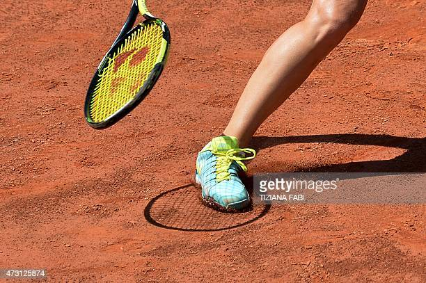Daria Gavrilova of Russia returns the ball to Ana Ivanovic of Serbia during the WTA Tennis Open tournament at the Foro Italico on May 13 2015 in Rome...