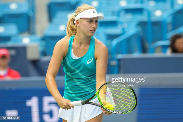 Daria Gavrilova prepares to serve during the Western Southern Open at the Lindner Family Tennis Center in Mason Ohio on August 14 2017
