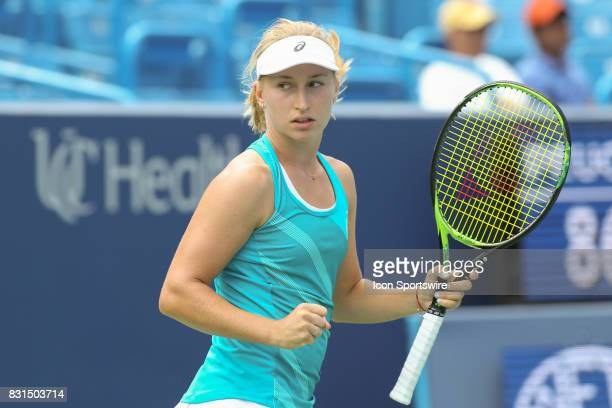 Daria Gavrilova reacts to a point during the Western Southern Open at the Lindner Family Tennis Center in Mason Ohio on August 14 2017