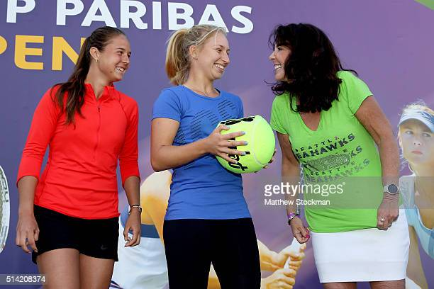 Daria Kasatkina of Russia and Daria Gavrilova of Russia are aided by Julie Varon of Seattle with conducting the women's draw during the BNP Paribas...