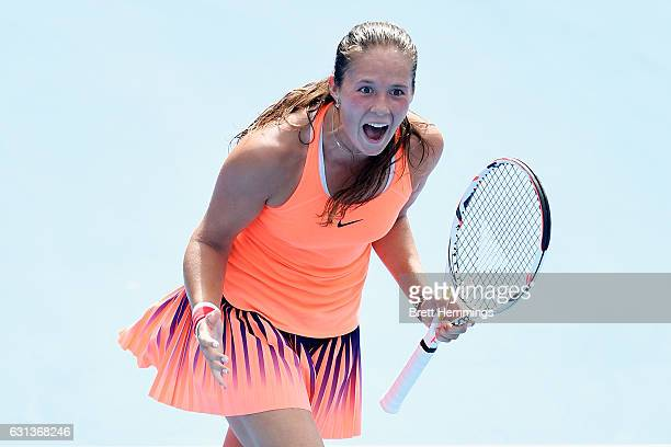 Daria Kasatkina of Russia celebrates after victory in her second round match against Angelique Kerber of Germany during day three of the 2017 Sydney...