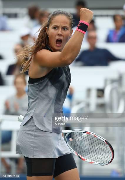Daria Kasatkina of Russia celebrates against Jelena Ostapenko of Latvia during their third round Women's Singles match on Day Six of the 2017 US Open...