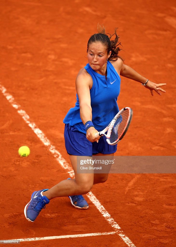 <a gi-track='captionPersonalityLinkClicked' href=/galleries/search?phrase=Daria+Kasatkina&family=editorial&specificpeople=10965238 ng-click='$event.stopPropagation()'>Daria Kasatkina</a> of Russia celebrates hits a backhand during the Ladies Singles second round match against Virginie Razzaro of France on day five of the 2016 French Open at Roland Garros on May 26, 2016 in Paris, France.