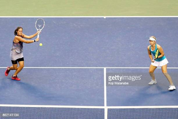 Daria Kasatkina of Russia competes against with her doubles partner Daria Gavrilova of Australia against Andreja Klepac of Slovenia and Maria Jose...