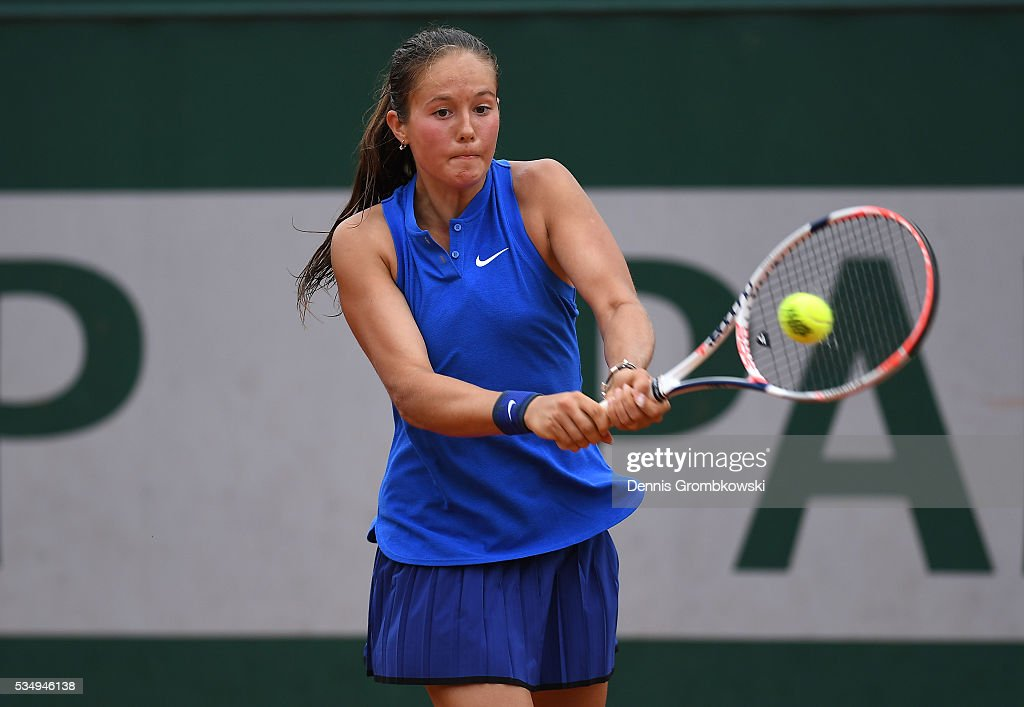 <a gi-track='captionPersonalityLinkClicked' href=/galleries/search?phrase=Daria+Kasatkina&family=editorial&specificpeople=10965238 ng-click='$event.stopPropagation()'>Daria Kasatkina</a> of Russia hits a backhand during the Ladies Singles third round match against Kiki Bertens of Netherlands on day seven of the 2016 French Open at Roland Garros on May 28, 2016 in Paris, France.