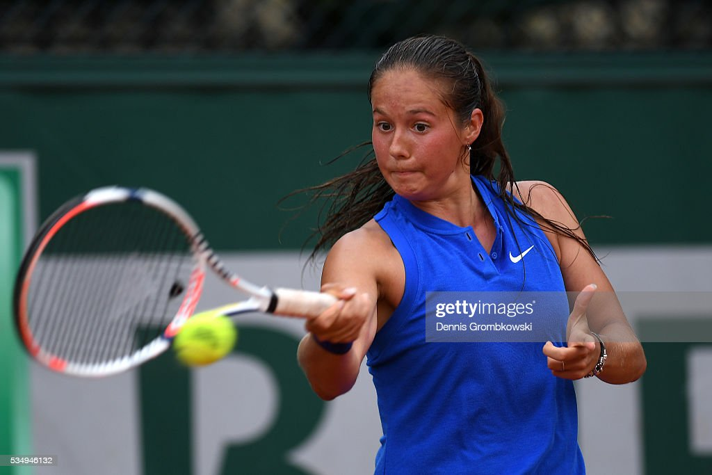 <a gi-track='captionPersonalityLinkClicked' href=/galleries/search?phrase=Daria+Kasatkina&family=editorial&specificpeople=10965238 ng-click='$event.stopPropagation()'>Daria Kasatkina</a> of Russia hits a forehand during the Ladies Singles third round match against Kiki Bertens of Netherlands on day seven of the 2016 French Open at Roland Garros on May 28, 2016 in Paris, France.