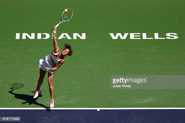 Daria Kasatkina of Russia in action against Karolina Pliskova of Czech Republic during day eleven of the BNP Paribas Open at Indian Wells Tennis...
