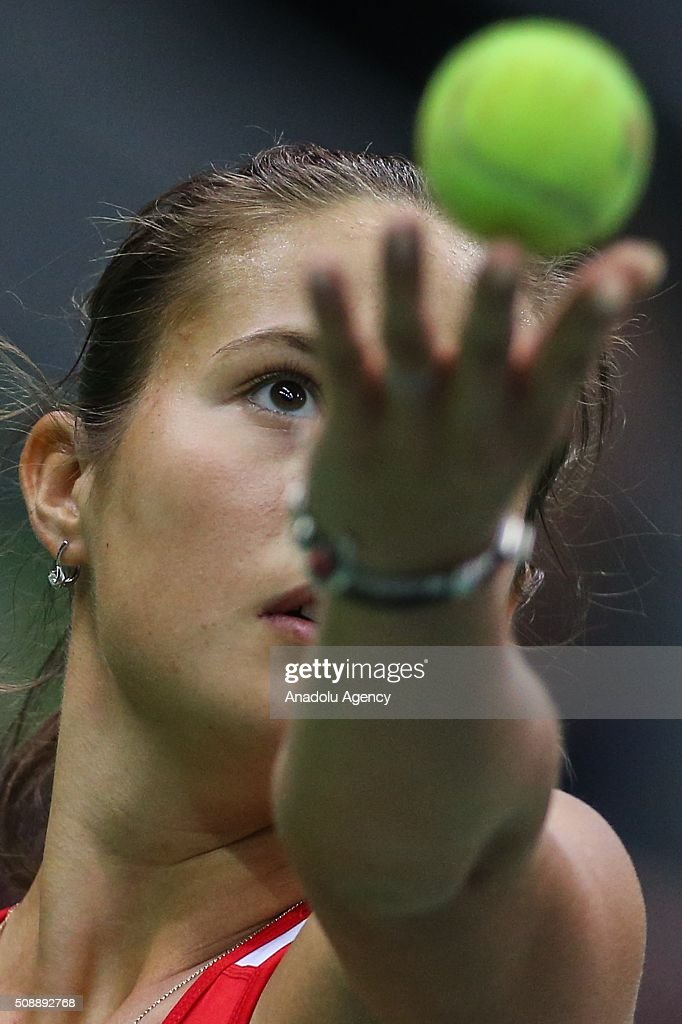 Daria Kasatkina of Russia in an action against Cindy Burger and Arantxa Rus of Netherlands during the Fed Cup World Group First round tennis match in Moscow, Russia on February 7, 2016.