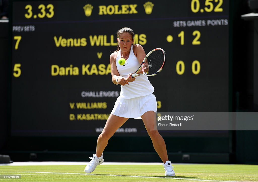 Daria Kasatkina of Russia plays a backhand during the Ladies Singles third round match against Venus Williams of The United States on day five of the Wimbledon Lawn Tennis Championships at the All England Lawn Tennis and Croquet Club on July 1, 2016 in London, England.