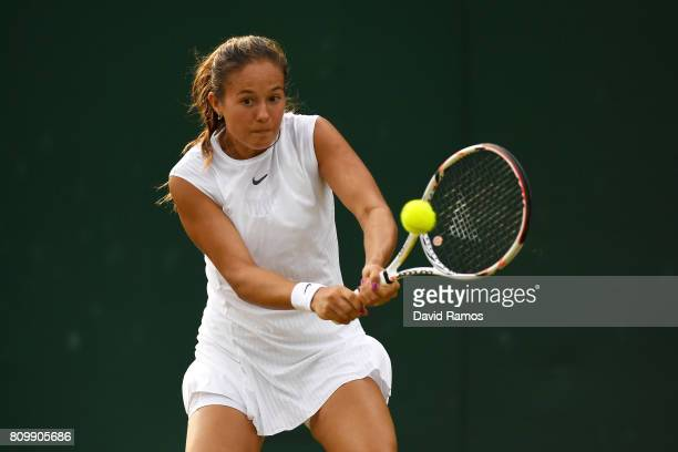Daria Kasatkina of Russia plays a backhand during the Ladies Singles second round match against Anett Kontaveit of Estonia on day four of the...