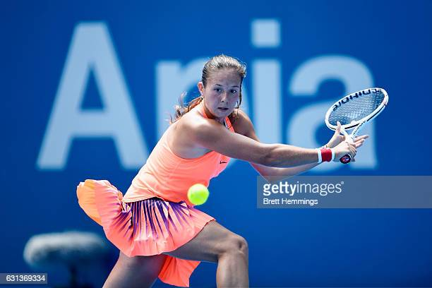 Daria Kasatkina of Russia plays a backhand shot in her second round match against Angelique Kerber of Germany during day three of the 2017 Sydney...