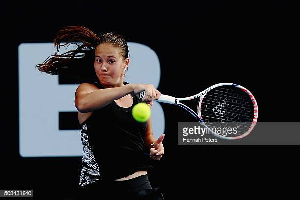 Daria Kasatkina of Russia plays a forehand during her first round match against Venus Williams of USA during day two of the 2016 ASB Classic at the...