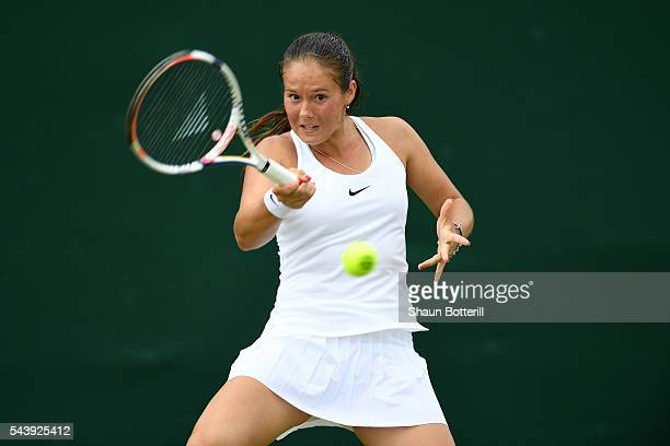 Daria Kasatkina of Russia plays a forehand during the Ladies Singles second round match against Lara Arruabarrena of Spain on day four of the...